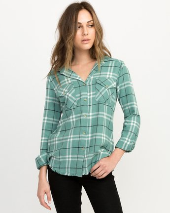 0 In A Haze Plaid Flannel Shirt Blue WM506INA RVCA