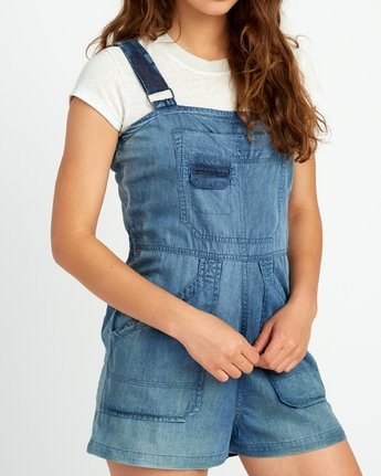 4 Crack It Chambray Overalls Blue WN03URCR RVCA