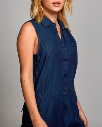 4 Ellis Sleeveless Coverall Blue WN07UREL RVCA