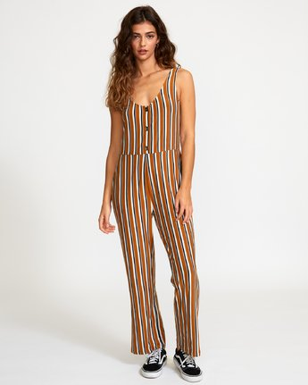 6 Carlton Striped Jumpsuit Brown WN08VRCA RVCA