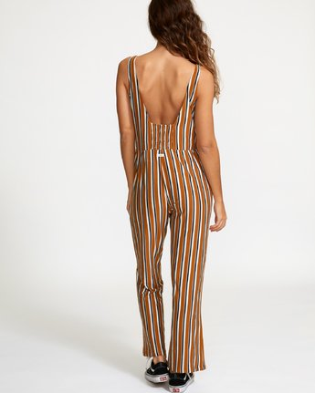 4 Carlton Striped Jumpsuit Brown WN08VRCA RVCA