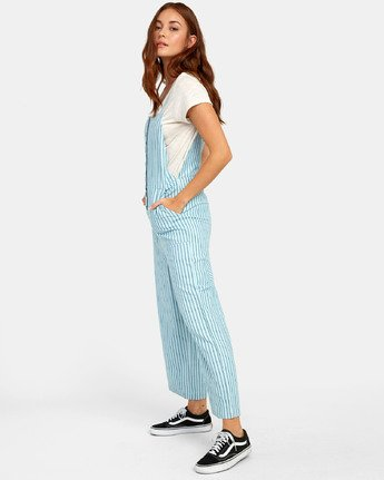 3 SHOUTOUT STRIPED JUMPSUIT Green WN091RSS RVCA