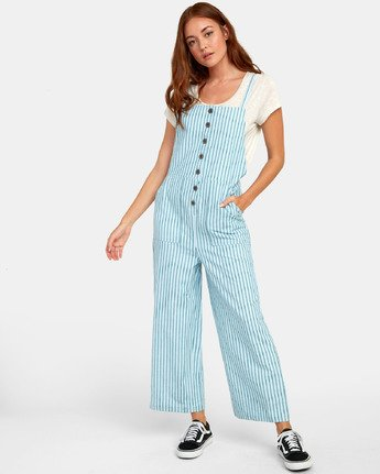 4 SHOUTOUT STRIPED JUMPSUIT Green WN091RSS RVCA