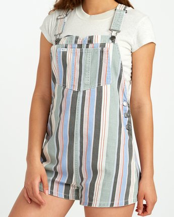 3 Townhouse Striped Denim Overall Grey WN09URTO RVCA