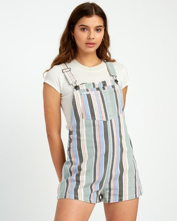 0 Townhouse Striped Denim Overall Grey WN09URTO RVCA