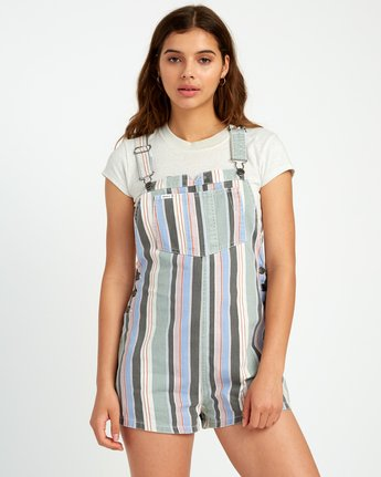1 Townhouse Striped Denim Overall Grey WN09URTO RVCA