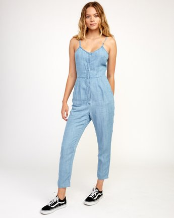 5 Flasher Chambray Jumpsuit Blue WN10TRFC RVCA