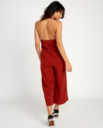 3 Holt Halter Jumpsuit Red WN38TRHO RVCA
