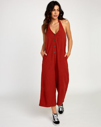 0 Holt Halter Jumpsuit Red WN38TRHO RVCA
