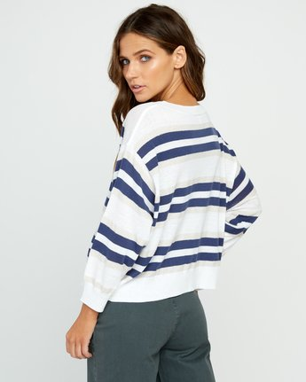 3 One Up Striped Sweater White WV01UROU RVCA