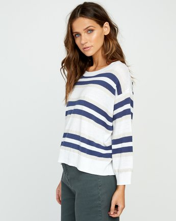 2 One Up Striped Sweater White WV01UROU RVCA