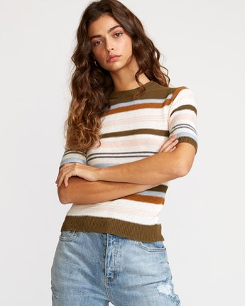 1 Nora Striped Knit Sweater Multicolor WV01VRNO RVCA
