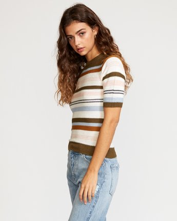2 Nora Striped Knit Sweater Multicolor WV01VRNO RVCA