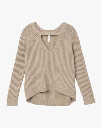 4 Case Knit Keyhole Sweater Beige WV02QRCA RVCA