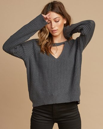1 Case Knit Keyhole Sweater Grey WV02QRCA RVCA