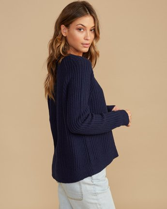 2 Case Knit Keyhole Sweater Blue WV02QRCA RVCA