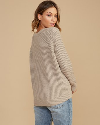 2 Case Knit Keyhole Sweater Beige WV02QRCA RVCA