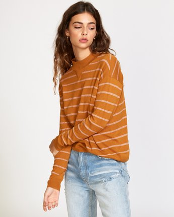 1 Tristan Striped Sweater Orange WV02VRTR RVCA