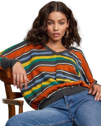 6 Carter Striped Sweater Grey WV03VRCA RVCA
