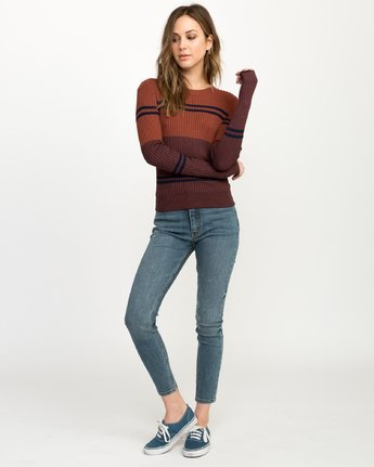 4 Even Striped Knit Sweater Blue WV04QREV RVCA