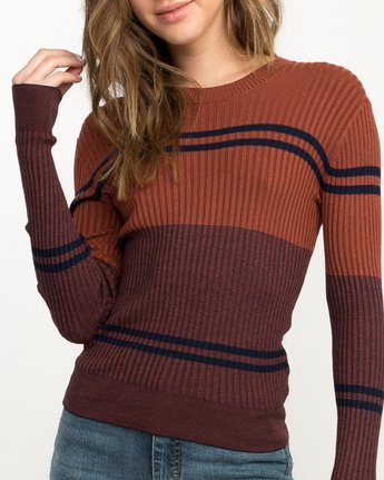 3 Even Striped Knit Sweater Blue WV04QREV RVCA