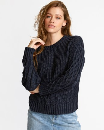 0 Ember Oversized Knit Sweater Blue WV04VREM RVCA