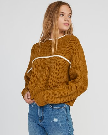 1 Jammer Cropped Knit Sweater Yellow WV05SRJA RVCA