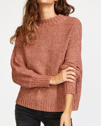 3 Volt Knit Mock Neck Sweater Brown WV05VRVO RVCA