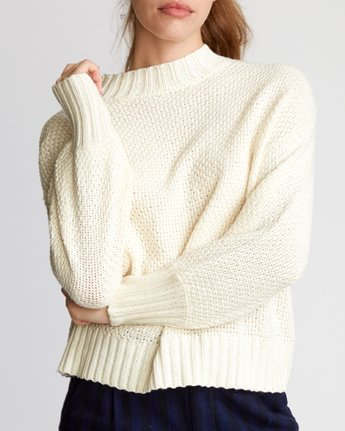 4 Volt Knit Mock Neck Sweater Beige WV05VRVO RVCA