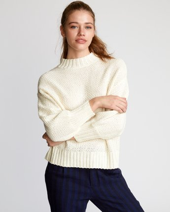 1 Volt Knit Mock Neck Sweater Beige WV05VRVO RVCA