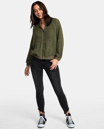 3 Erratic Zip-Up Knit Sweater Brown WV06WRER RVCA