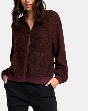 3 Erratic Zip-Up Knit Sweater Brown WV06WRER RVCA