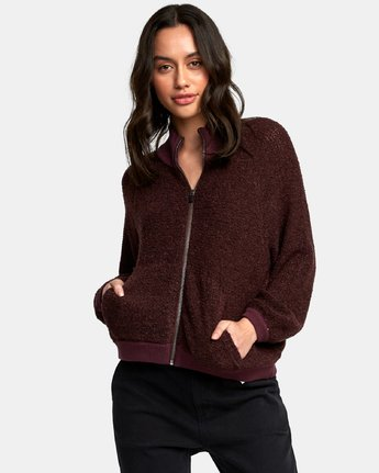 0 Erratic Zip-Up Knit Sweater Brown WV06WRER RVCA