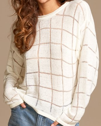 3 Range Lightweight Knit Sweater White WV07VRRA RVCA