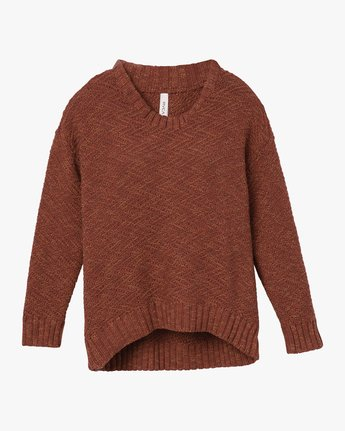 6 Zigged Knit Sweater Brown WV08QRZI RVCA