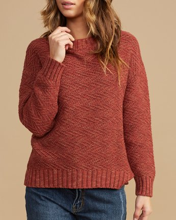 4 Zigged Knit Sweater Brown WV08QRZI RVCA