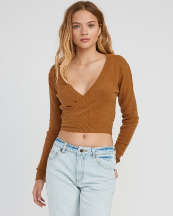 0 The Fuz Wrap Sweater Yellow WV10SRTF RVCA