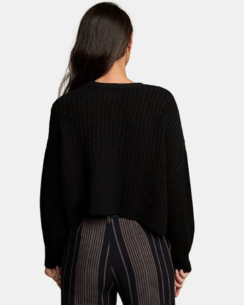2 Louder Ribbed Knit Sweater Black WV11WRLO RVCA