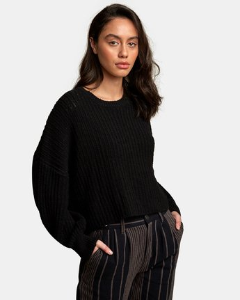 1 Louder Ribbed Knit Sweater Black WV11WRLO RVCA