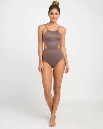 4 Solid One Piece Swimsuit Brown X101NRSO RVCA