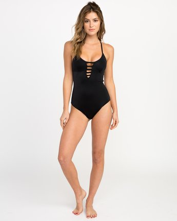 4 Solid Strappy One Piece Swimsuit Black X101PRSO RVCA