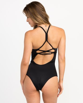 2 Solid Strappy One Piece Swimsuit Black X101PRSO RVCA