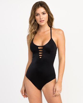 0 Solid Strappy One Piece Swimsuit Black X101PRSO RVCA