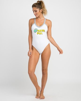 4 Real Talk One Piece Swimsuit White X103NRPO RVCA