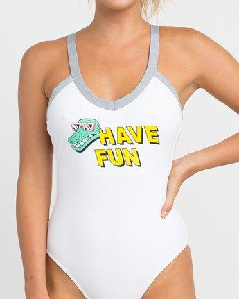 3 Real Talk One Piece Swimsuit White X103NRPO RVCA