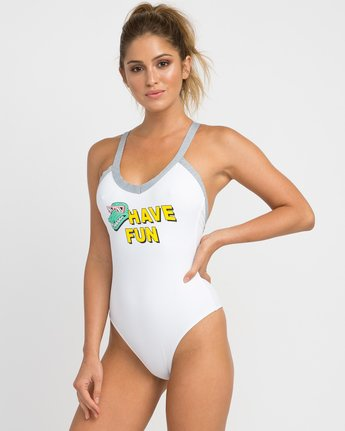 1 Real Talk One Piece Swimsuit White X103NRPO RVCA