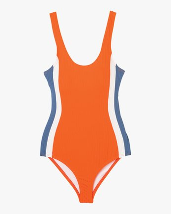 5 July Colorblocked One Piece Swimsuit Red X104PRJO RVCA
