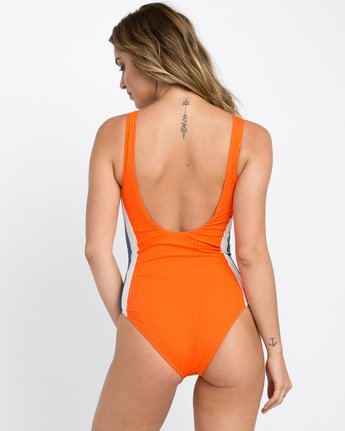 2 July Colorblocked One Piece Swimsuit Red X104PRJO RVCA