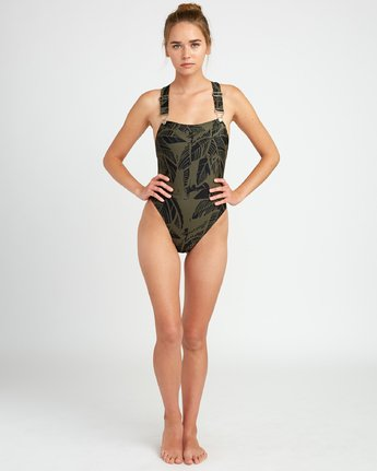 4 Harlo Cheeky One Piece Swimsuit Green X104URHA RVCA