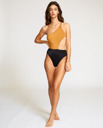 4 Solid Cut Out Cheeky One Piece Brown X104VRSO RVCA